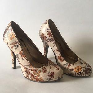 beautiful floral print heels